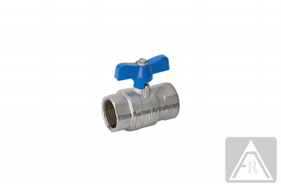 """2-way ball valve - brass, full bore, G 1/4"""", PN 25, female/female - T-handle: color blue (standard) or red"""