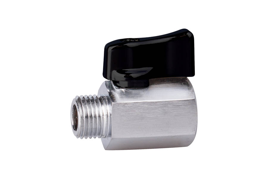 "Mini- Kugelhahn aus Messing, reduzierter Durchgang, G 1/8"", PN 10, IG/AG - Handhebel aus Aluminium"