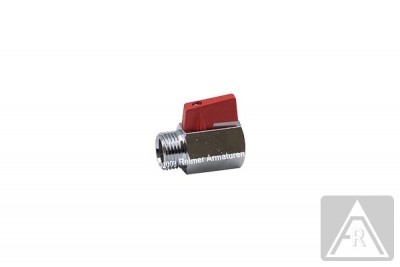 Mini- Kugelhahn aus Messing, reduzierter Durchgang, G 1/8'', PN 15, IG/AG