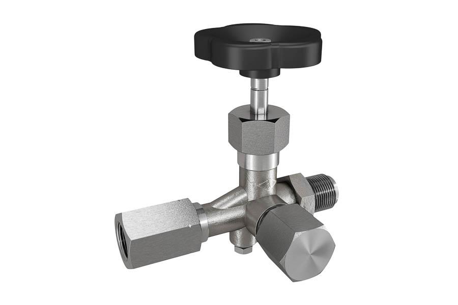 Manometerventil nach  DIN 16271 aus Stahl, G 1/2'', PN 400, Zapfen x Spannmuffe