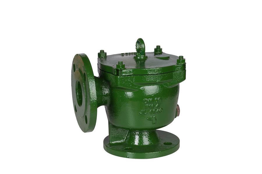 Grobfilter aus GG-25 (DIN 87151), Sieb aus nichtrostendem Stahl (Quadratlochung: 8x8 mm), DN 250, PN 4 (Flanschbohrungen nach DIN PN10) - in Eckform