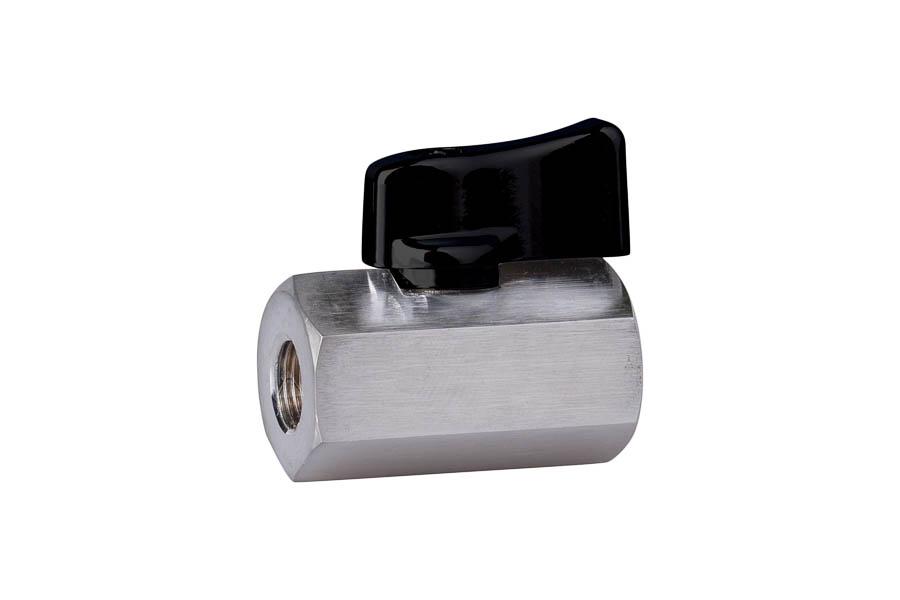 "Mini- Kugelhahn aus Messing, reduzierter Durchgang, G 1/4"", PN 10, IG/IG - Handhebel aus Aluminium"