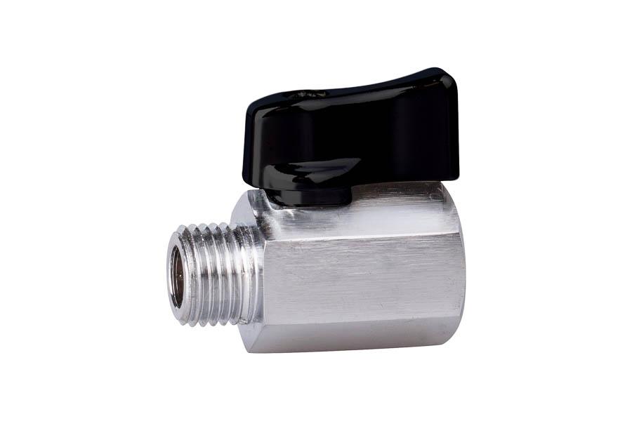 "Mini- Kugelhahn aus Messing, reduzierter Durchgang, G 1/4"", PN 10, IG/AG - Handhebel aus Aluminium"