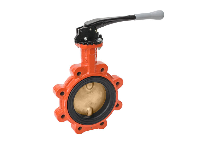 Absperrklappe in Anflanschausführung, Gehäuse: GGG-40 / Klappenscheibe: Aluminium-Bronze / Manschette: EPDM, DN 40, PN 16 - Rasthebel