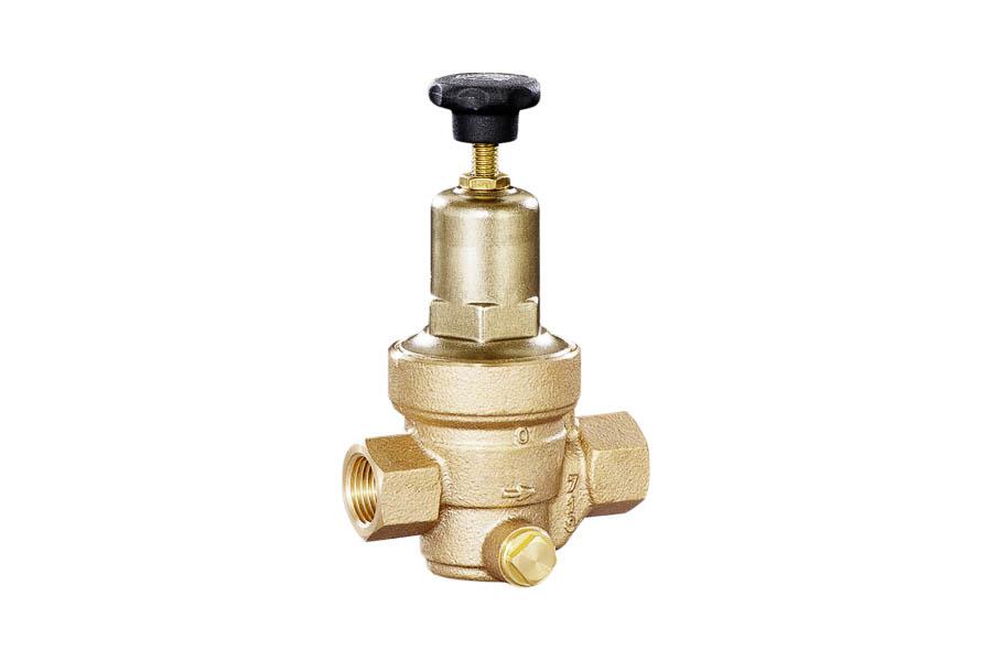 Druckminderer aus Rotguß, G 3/8'', PN 25, IG/IG, Vordruck: max. 25 bar, Hinterdruck: 1,5 bis 8 bar - für Druckluft und neutrale Gase